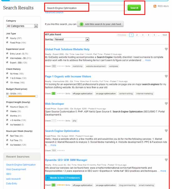 oDesk jobs search